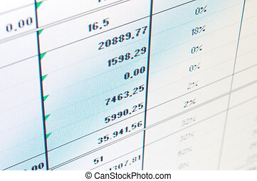 business data and statistics showing financial success