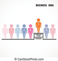 Businessman standing out from the crowd Business idea and...
