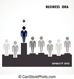 Businessman standing out from the crowd Business idea,...