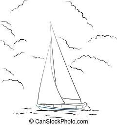 Boat sketch - Vector illustration of a sketchy boat