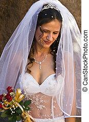 Bride - Portrait Caucasian bride with roses bouquet