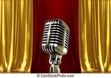 On the stage - Glowing microphone on stage with red gold...