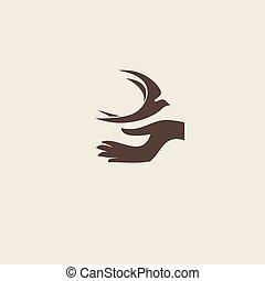 hirondelle, oiseau, résumé, vecteur, logo,...