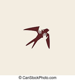 Swallow bird abstract vector logo design template. Creative...
