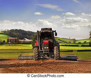 Tractor on Farmland, Somerset.