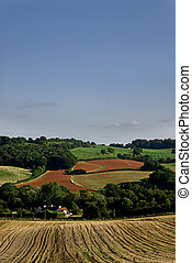 Cultivated and harvested farmland in Somerset, England.
