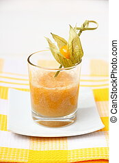 Apricot Smoothie with sea buckthorn Syrup, soft focus
