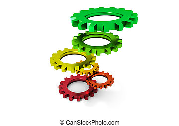 tower of colorful metallic cogwheels hovering illustration