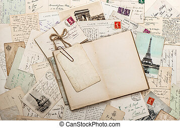 open empty diary book, old letters, french postcards....