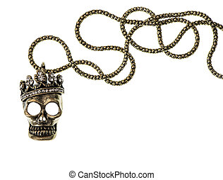 queen or king skull with crown isolated on white background....