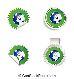 sticker planet green vector