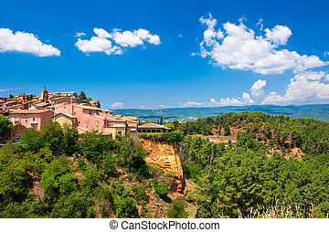 Roussillon village near Gordes, Provence, France. Beautiful...