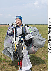 Skydiver after landing.