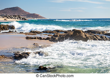 Sea of Cortez, Mexico - Shoreline of sea of Cortez with...