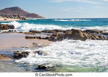 Sea of Cortez, Mexico - Shoreline of sea of Cortez with...