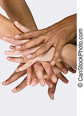 together - Background pile of hands, Caucasian, African...
