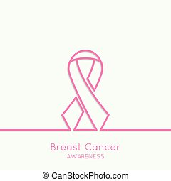 Breast Cancer Awareness Ribbon vector icons pink Outline...