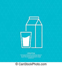 Paper packaging with a full glass of milk.