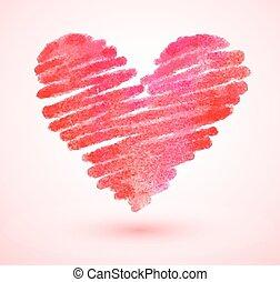 Watercolor scribble heart
