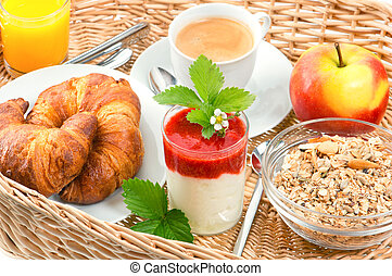 breakfast with coffee, croissants and orange juice