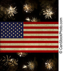 vintage american flag over july 4th fireworks. beautiful...