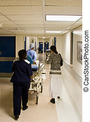 Hospital emergency - Healthcare personnel carry in a rush...