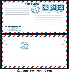 Airmail envelope with stamps on black