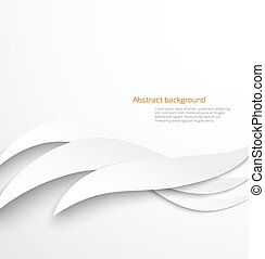 Abstract white waves background with drop shadow Vector...