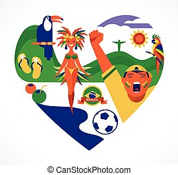 Brazil love - heart with a set of icons