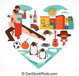 Argentina love - heart with a set of icons and illustrations