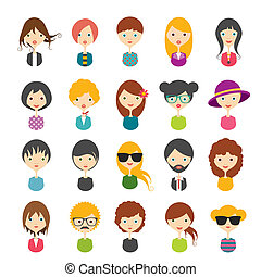 Big set of avatars profile pictures flat icons Vector...
