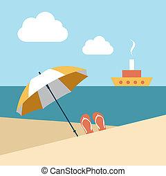 Flat summer beach. Umbrella. - Flat summer beach. Umbrella...