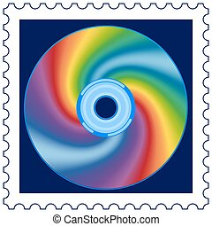 CD stamp - Abstract CD on postage stamp
