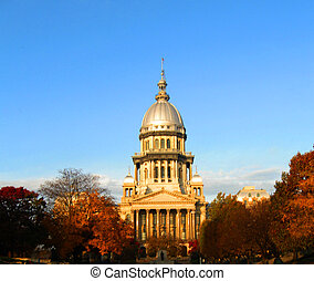 Illinois State Capitol Morning Light in Fall - Illinois...