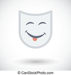 Theatrical mask Single flat icon on white background Vector...