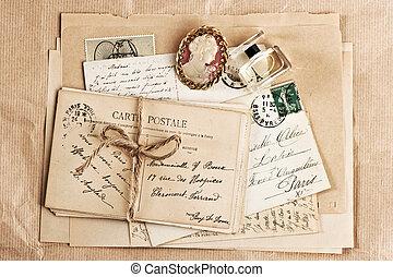 antigas, francês, poste, Cartões, e, acessório,