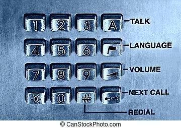 Phone keypad - Public phone keypad, blue tint, slight noise...