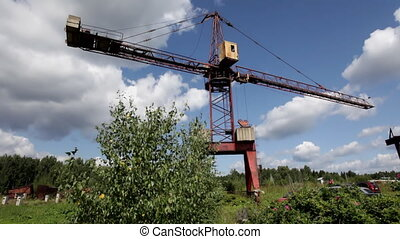 Crane in sunny day with cloud timelapse