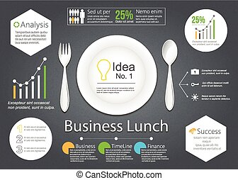 Business lunch - Vector Business lunch with illustration of...