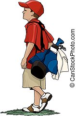 Boy Golfer with Golf Bag - Young boy golfer carrying his...