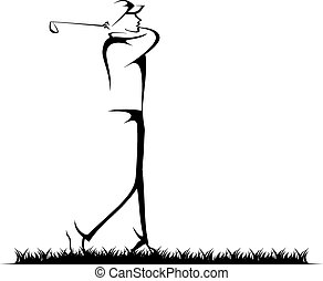 Man Golfing - Black and white stylized illustration of a...