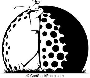 Man Golfing Beside Stylized Ball - Black and white stylized...