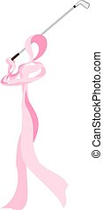 Breast Cancer Golfer Ribbon - Golfer formed out of a pink...