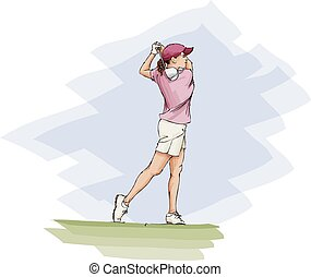 Golfing Girl Teeing Off