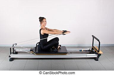 Gymnastics pilates - Arm stretch exercise. Pilates...