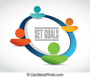 set goals business team sign concept