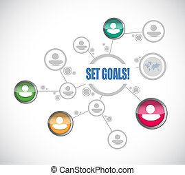 set goals team diagram sign concept
