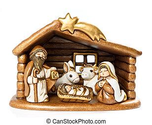 Jesus Christ child, Mary and Josef. nativity scene
