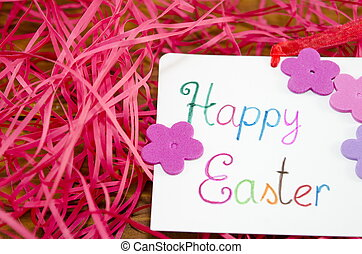 Happy Easter card with decorated with red straws