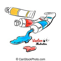 Paint tubes and oil paint Watercolor and line art Vector...